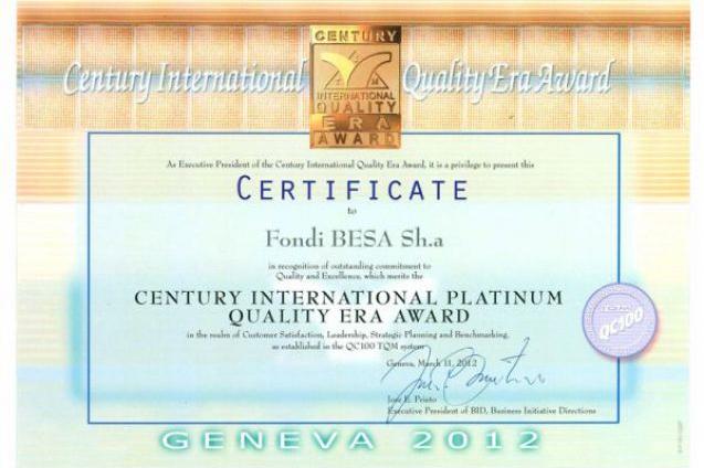 Platinium award winner