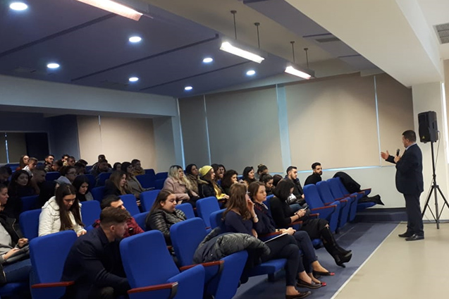"""In view of enhancing financial education of young people, Fondi BESA delivered at the European University of Tirana an open lecture on the subject """"Enterprise Finances""""."""